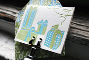 Presents letterpress gift tags, blue, green