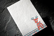 Reindeer letterpress holiday social note