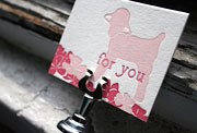 Lamby pink red baby letterpress gift tags