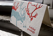 Reindeer letterpress holiday card, green, red, Christmas, child's