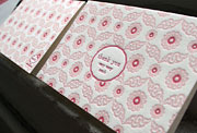chiffon letterpress pink red thank you card