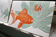 Koi letterpress note card, goldfish, flower, green, orange