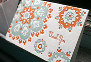 Crochet letterpress thank you card, patterning, green, orange