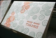 Piedmont letterpress thank you card, spirals, green, orange