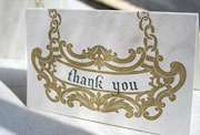 Bourbon letterpress thank you card, gray, taupe, masculine, chain