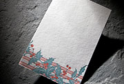 Holly letterpress holiday social note