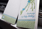 Giraffe happy birthday letterpress card