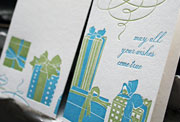 Presents happy birthday letterpress card