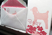 Lamby pink red baby letterpress note cards