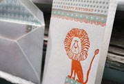 Circus child's letterpress birthday card, lion, green, orange