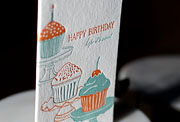 Cupcakes letterpress printed birthday cards