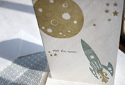 Over the Moon child's congratulations letterpress greeting card, boyish, boy