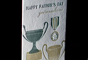 Trophy letterpress printed fathers day cards