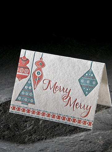Ornaments letterpress holiday gift enclosure