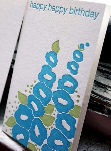 Flowers happy birthday letterpress card