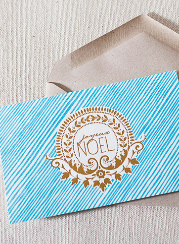 joyeux-noel-letterpress and foil-folded-card