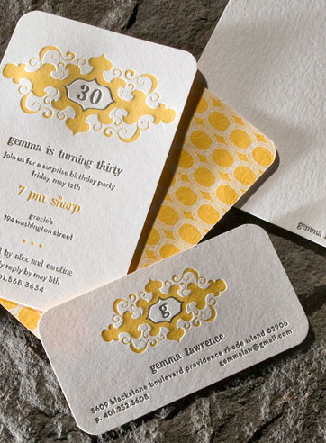 Graham yellow gray monogram letterpress stationery, birthday invite