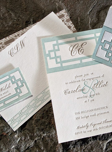 Plym custom letterpress stationery, business cards, letterpress invitations, green, brown