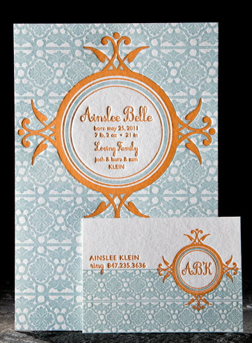 Tallulah personalized letterpress stationery, business cards, baby announcement