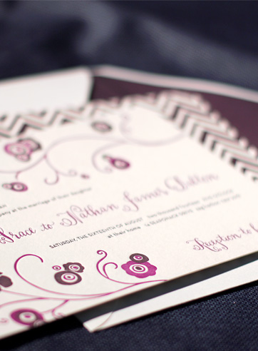 floral feminine wedding invitation eggplant orchid whimsical