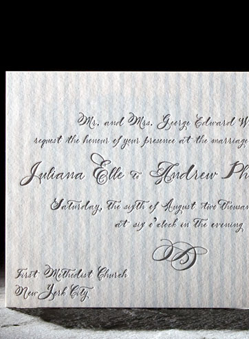 blue and gray letterpress wedding invitation calligraphy custom stripes