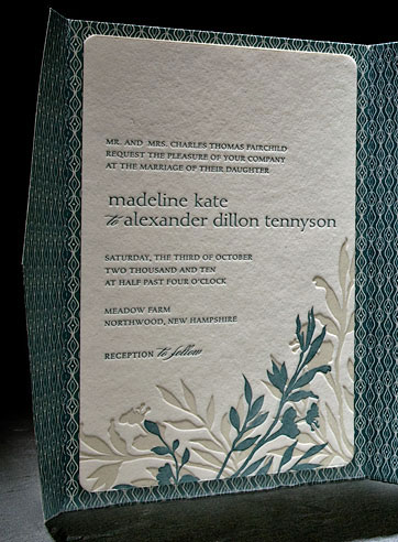 Green wedding invitation: Engadine