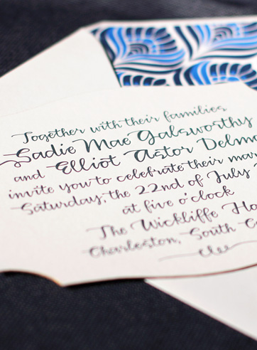 classic letterpress wedding invitation midnight peacock diecut
